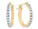 Diamond Small Hinged Hoop Earrings in 14K Yellow Gold (2/3 Inch)