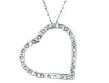 Diamond Floating Heart Pendant Necklace in 14K White Gold with Chain