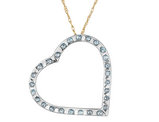 Floating Heart Diamond Pendant Necklace in 14K Yellow and White Gold with Chain