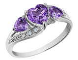 Amethyst Heart Ring with Diamonds 1.00 Carat (ctw) in 10K White Gold