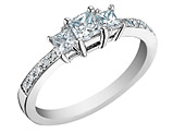 Princess Cut Diamond Engagement Ring and Three Stone Anniversary Ring 1/3 Carat (ctw) in 14K White Gold