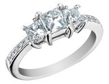 Three Stone Princess Cut Diamond Engagement Ring 4/5 Carat (ctw) 14K White Gold