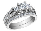 Three Stone Princess Cut Diamond Engagement Ring & Wedding Band 1.0 Carat (ctw) 14K White Gold