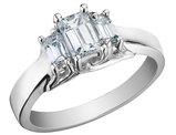 Three Stone Diiamond Engagement Anniversary Ring 2/3 Carat (ctw) 14K White Gold