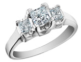 Princess Cut Diamond Engagement Ring and Three Stone Anniversary Ring 3/4 Carat (ctw) in 14K White Gold