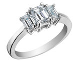 Three Stone Diamond Engagement Anniversary Ring 1.0 Carat (ctw) 14K White Gold