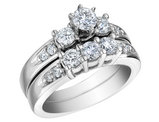Three Stone Diamond Engagement Ring & Wedding Band 1.20 Carat (ctw) 14K White Gold