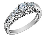 Diamond Engagement Ring 3/4 Carat (ctw) in 14K White Gold