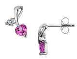 Created Pink Sapphire Heart Earrings with Diamonds 7/10 Carat (ctw) in Sterling Silver