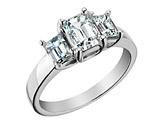 Three Stone Emerald Cut Diamond Engagement Ring 1.63 Carat (ctw) 14K White Gold