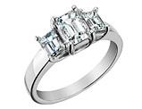 Three Stone Emerald Cut Diamond Engagement Ring 1.75 Carat (ctw) 14K White Gold