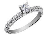 Princess Cut Diamond Engagement Ring 3/4 Carat (ctw) in 14K White Gold