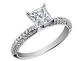 Princess Cut Diamond Engagement Ring 1.0 Carat (ctw) in 14K White Gold