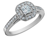 Princess Cut Diamond Engagement Ring 1/2 Carat (ctw) in 14K White Gold