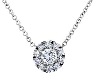 Diamond Pendant Necklace 1/3 Carat (ctw) in 14K White Gold with Chain