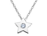 Diamond Star Pendant Necklace in 14K White Gold with Chain