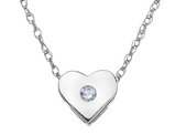 Diamond Heart Pendant Necklace in 14K White Gold with Chain