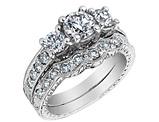Three Stone Diamond Engagement Ring & Wedding Band 1.04 Carat (ctw) 14K White Gold