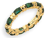 Synthetic Emerald Green Cyrstal Ring with 24K and Rhodium Plating Jacqueline Kennedy Collection