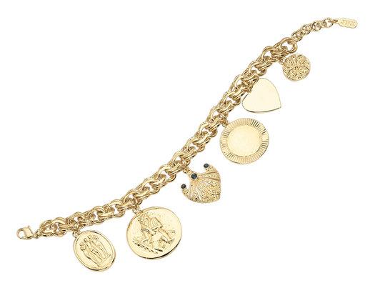 Charm Bracelet with Swarovski Crystals with 24K Gold Plating