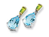 Peridot and Blue Topaz Earrings 5.30 Carat (ctw) in Sterling Silver