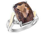 Smokey Quartz Ring with Diamonds 5.84 Carats (ctw) in Sterling Silver
