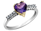 Amethyst Heart Ring with Diamonds 2.10 Carats (ctw) in Sterling Silver
