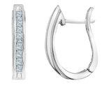 Diamond Hoop Earrings 1/4 Carat (ctw) in Sterling Silver