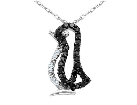 White and Black Diamond Penguin Pendant Necklace 1/6 Carat (ctw) in 10K White Gold with Chain