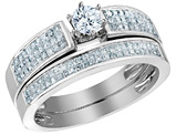 Diamond Engagement Ring & Wedding Band Set 1.0 Carat (ctw) in 14K White Gold
